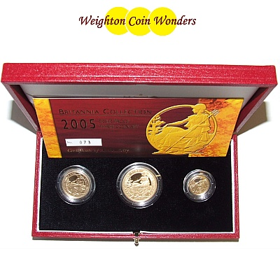 2005 Gold Proof BRITANNIA 3 Coin Set